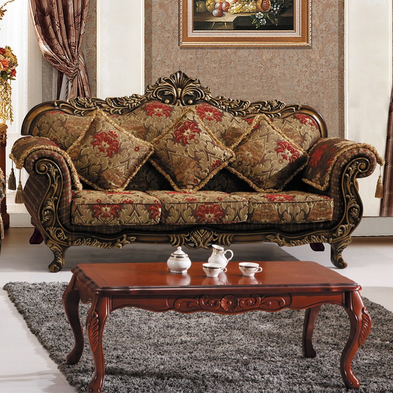 Made in foshan china timber frame floral uphostery for Traditional couches for sale