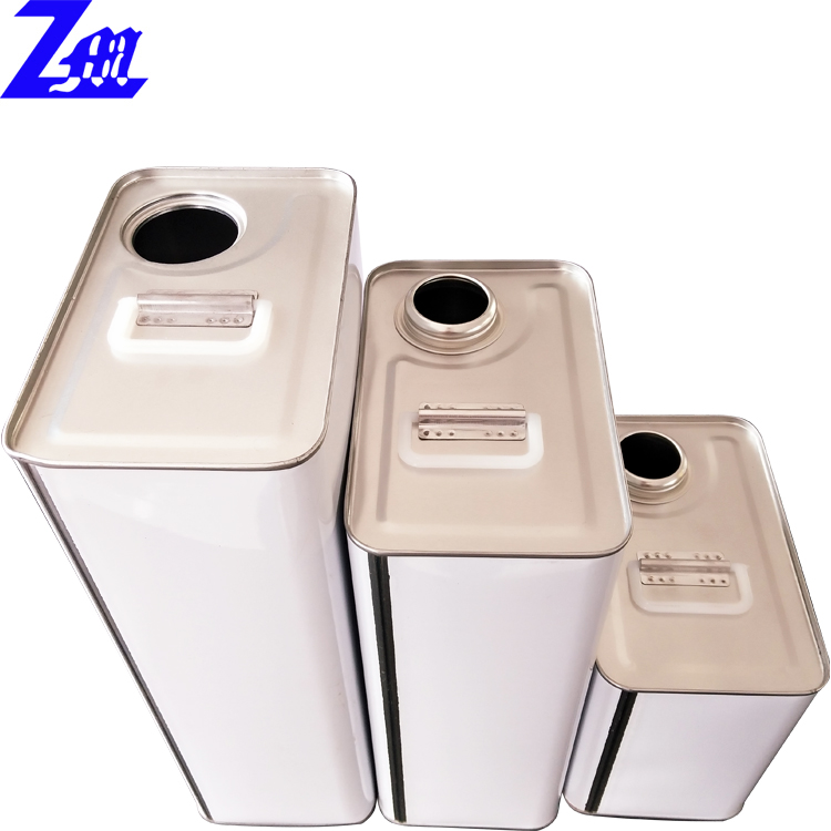all kinds of cans for adhesive Rectangular Metal Tin Can With Plastic Spout Cap chemical cans