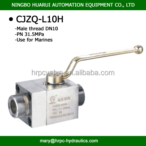CJZQ Series marine two way M27x1.5 male thread high pressure globe ball valve dn08
