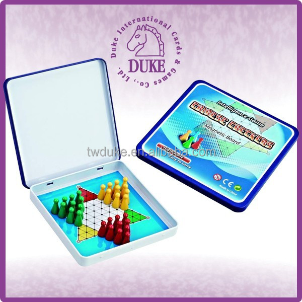 Square magnetic travel tin box chinese checkers game set