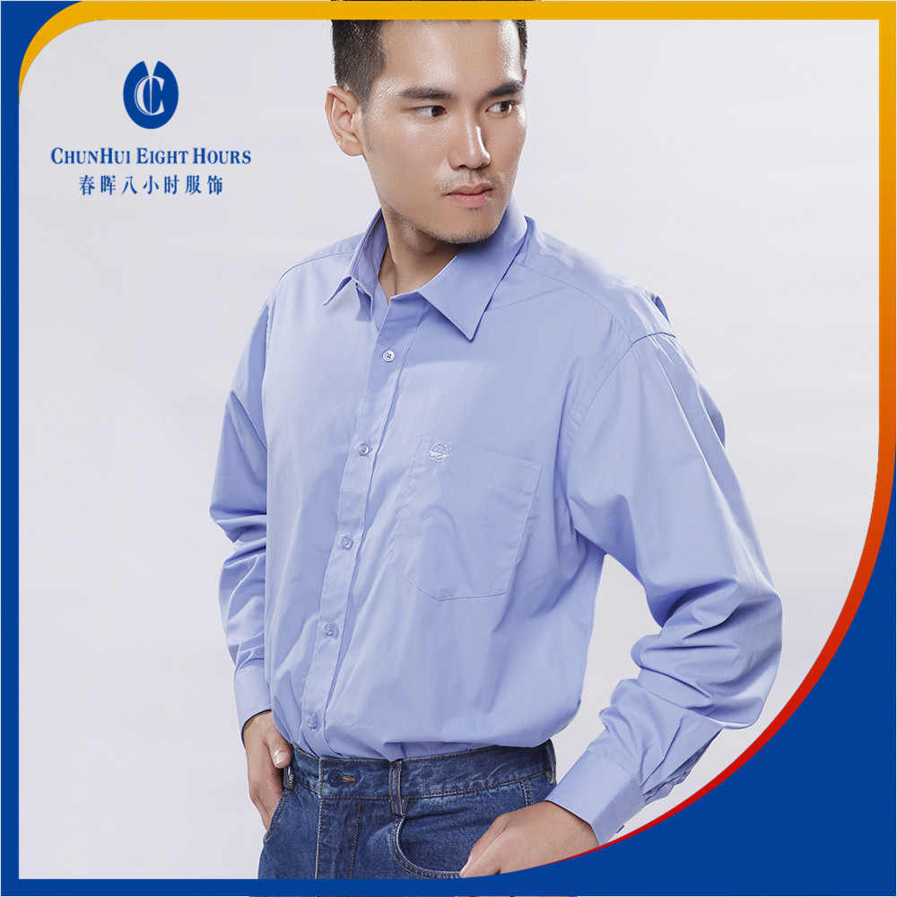 Regular blue working men bamboo cotton 20 polyester or 35 cotton 65 polyester spandex dress shirts with long sleeves