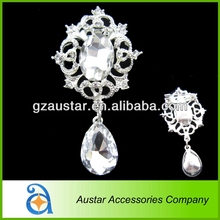 Hot sale 35*65mm make brooch pin for wedding dress,crystal diamante brooch with drop