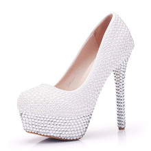 Fashion Beautiful Design Crystal And Pearls High Heel Shoes for Women