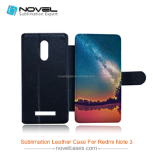 Wholesale Price!!! Custom Design Sublimation pu leather phone cover for Redmi Note 3