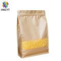 Wholesale Custom Printed Kraft Paper Flat Bottom Zipper Food Packaging Pouch Bags for Grains