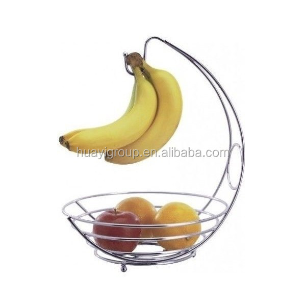 New Design Metal Wire Fruit Basket with Banana Holder