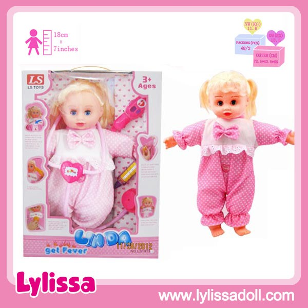 wholesale 13 inch sick and fever baby doll with IC and light sick doctor set.