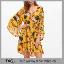 Clothing manufacturers OEM western ladies new designs fashion sexy Yellow Flower Print Lace Up Plunge Neck Bell Sleeve Dress