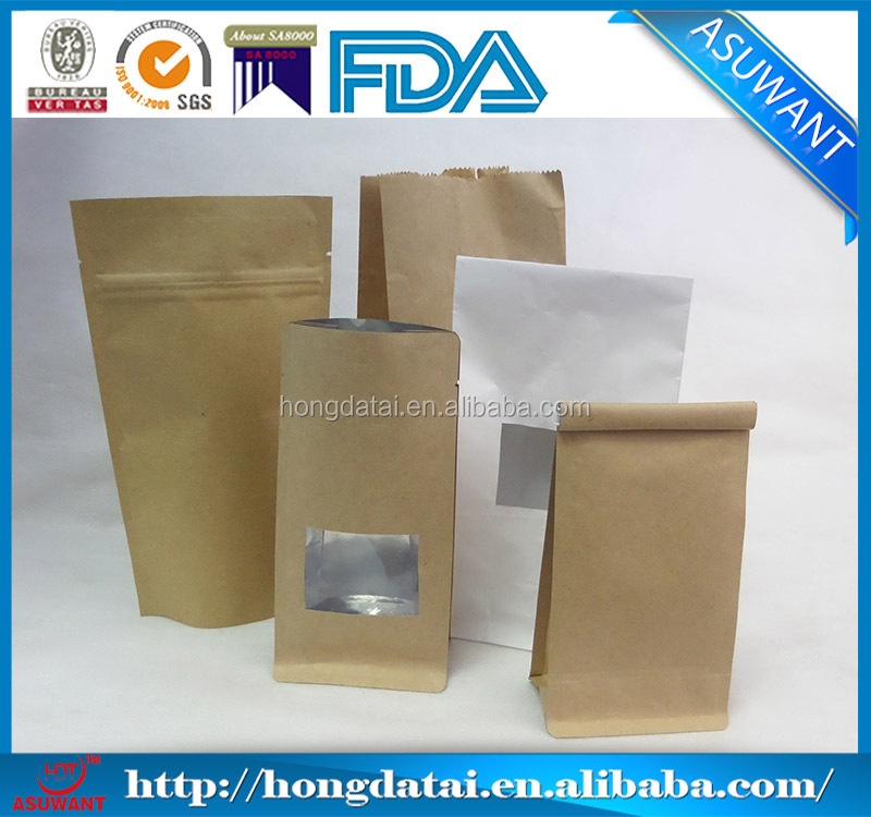 white kraft paper bag flat handle for coffee