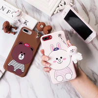 2017 amazon top seller 3d animals KickStand nicole rabbit phone case for iphone 7,brown bear stand phone case for iphone 7plus