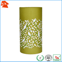 perfect green black leaves pattern laser cylinder table decoration light shade