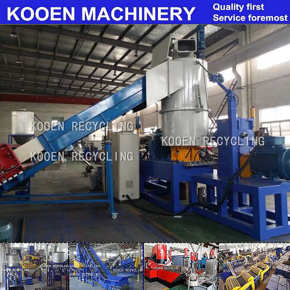 KOOEN High quality pp/pe film plastic compactor pelletizing line