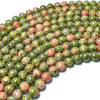 Wholesale High Quality Loose Natural Gemstone Beads Price 8mm Unakite for DIY Bracelet