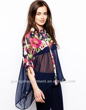 new fashion chiffon sheer blouse 2014 patchworked models chiffon down blouses