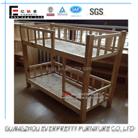 Natural Color Solid Wood Plank Bed, Popular Pine Wood Double Decker Bed, Children Double Decker Bed Design