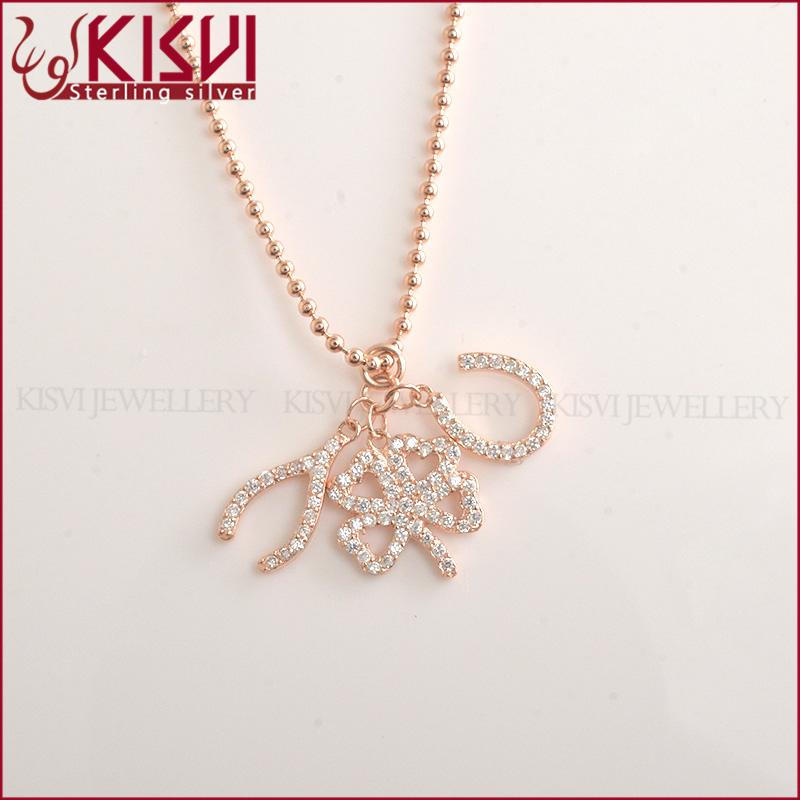 925 silver rose gold necklace 16+2inch new design jewelry silver fashion factory