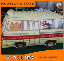 PVC giant inflatable cartoon animals theme inflatable light yellow bus inflatable bus toy for sale