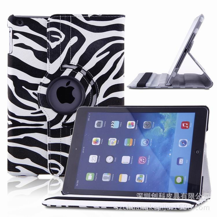 Zebra pattern Rotating Leather case For iPad 2 3 4