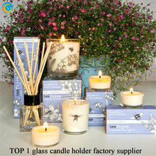 Factory direct sale hotel decor cheap glass candle holders for party