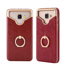 Universal Pure Color Leather Sticker Silicone Phone Case For 5 Inch Mobile Phones With Ring Holder