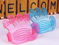2015 hot selling Pet Puppy Dog/Cat Lovely Hand Shape Transparent pet Bath Brush X04