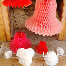 2013 new christmas tissue round honeycomb bell ball christmas decoration paper honeycomb ball