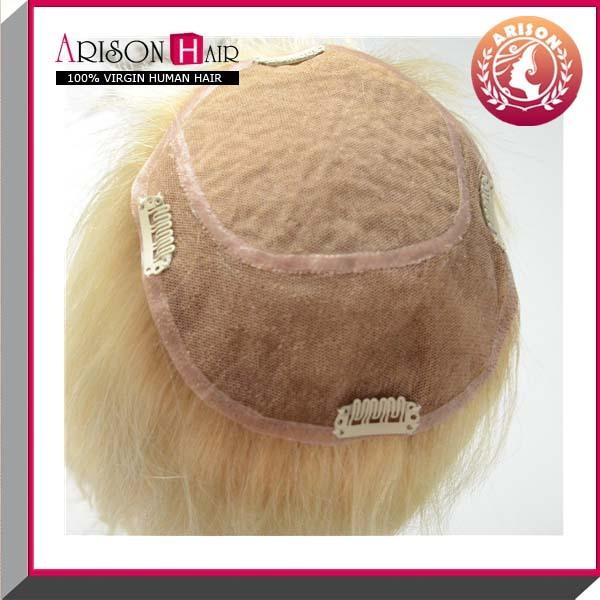 613# Blond Human Hair Pieces Women Toupee