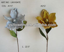 "Hot Sale Artificial Flowers 23"" Artificial Velvet Single Magnolia With Glitter"