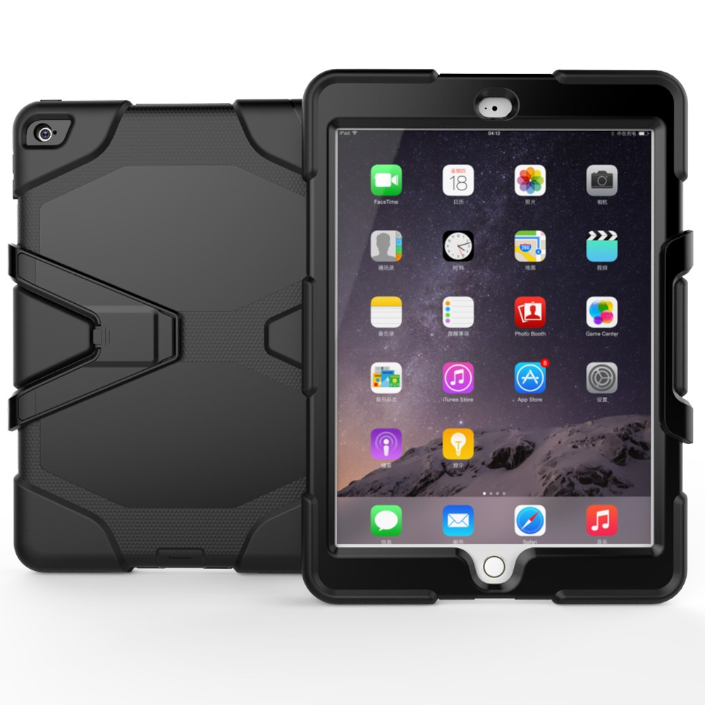 Heavy Armor Case With Detached Kickstand Silicone Case For iPad Air 2 Cover