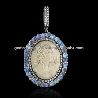 Pave Set Diamond Cameo Pendant, Designer Lava Cameo Daangle Pendant, Real Sapphire Moonstone Pendant Handmade Wholesale Jewelry