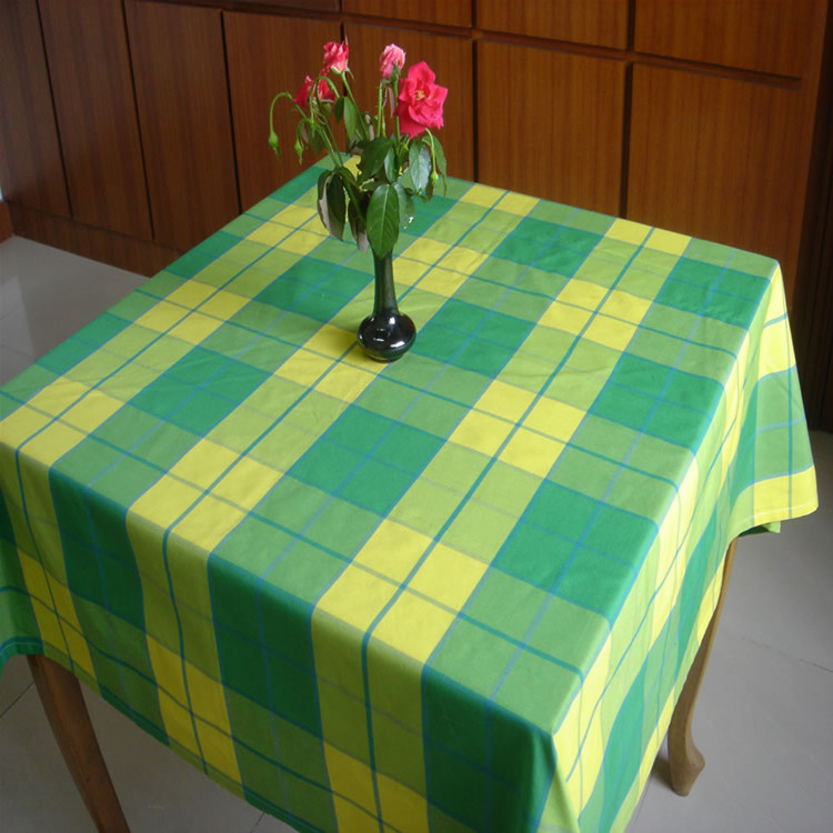 Yellow and green Stripe Cotton Fabric Non Disposable Mahjong Table Cloth