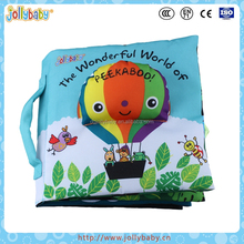Jollybaby Wholesale Non-Toxic And Tearproof Fabric Baby Favourite Soft Cloth Book With BiBi Squeaker