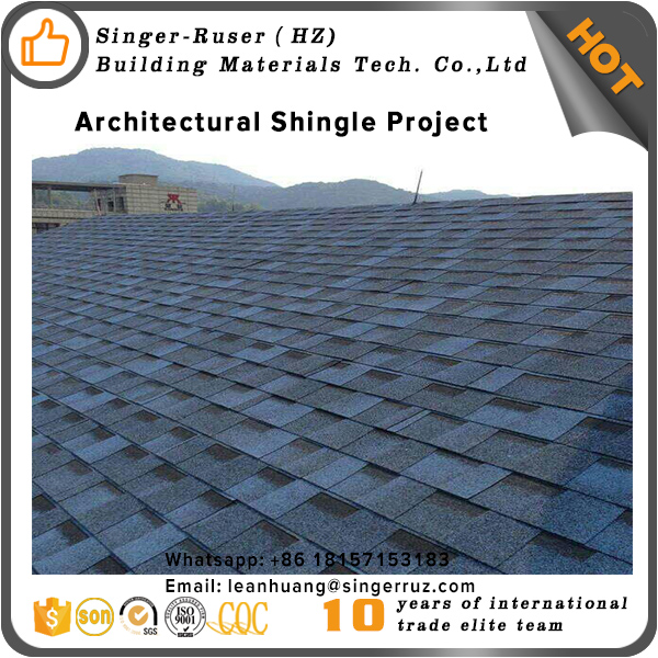 Cheap roofing material fish-scale designed blue red asphalt roofing shingle