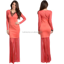 2014 new arrival long sleeve mermaid evening dress