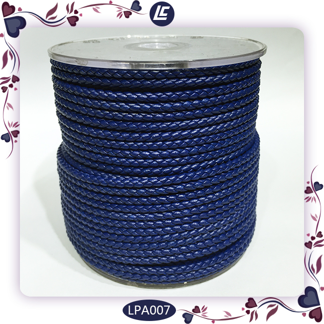 Genuine Leather Cord Jewellery Making Components 3mm Braided Leather Cord In Blue