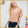 SHANGYI fashion cropped v neck wide-cut sleeves women blouse