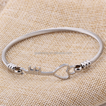 Vintage simple design heart key shaped bracelet stainless steel girl's bracelet