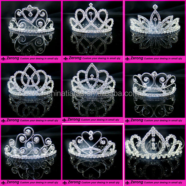 Elegant silver sparkling crystal bridal wedding crown decorative tiaras with hair comb