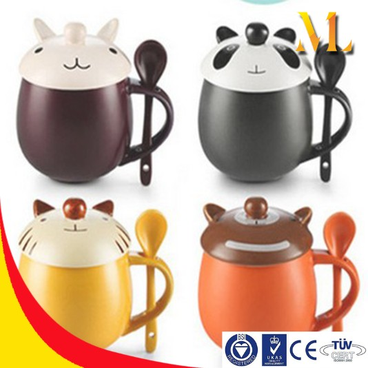 panda cat creative mugs china cup drinkware handle spoon mugs children gifts