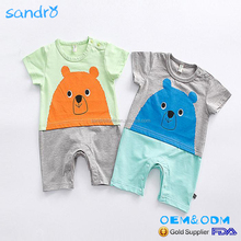 2017 summer hot style baby with funny short sleeves for cartoon animals Cute baby clothes rompers