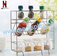 Wall Mounted Wire Spice Display Shelves/Stainless steel 3 tier kitchen spice shelf/Flavoring holder display rack
