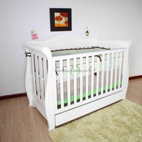 Deluxe 3 in 1 Baby Sleigh Cot / Baby Bed/Baby Crib