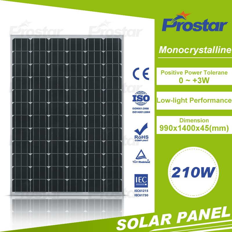 High quality monocrystalline 24v 210w solar panel 48v mono solar panels