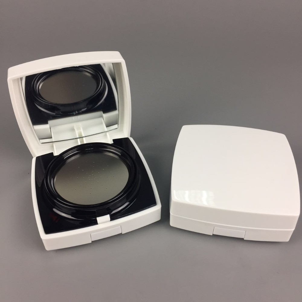 Free samples15g square white empty bb cushion cream airless compact powder box / case / container with mirror