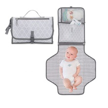 Grey Large Waterproof Infant Portable Changing Pad Diaper Bag Travel Baby Changing Mat Station for Newborns and Toddlers