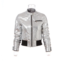 Lady metal pu motorcycle leather jacket factory supply