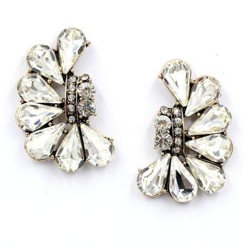 fashion simple half moon shaped crystal earrings jewelry wholesale crystal rhinestone earrings women