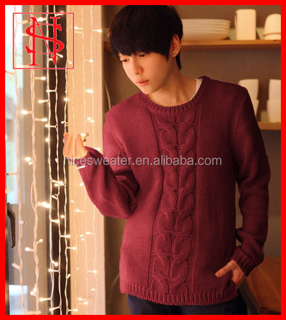 Men vintage cable pullover crew neck sweater knitting pattern free