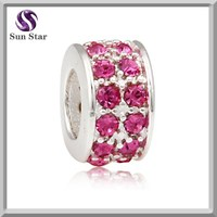 925 sterling silver pink crystal sparkle lights bead charm fit for italian bracelet