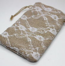 lace and ribbon jute material wedding favor bags jewelry pouches